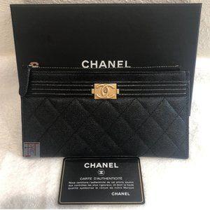 CHANEL Black Caviar O-Case Phone Card Case Wallet